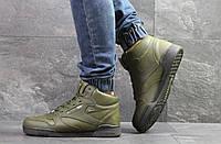 Мужские зимние кроссовки на меху в стиле Reebok, зеленые 42 (27,5 см)