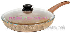 Сковорода Биол Оптима-Декор с антипригарным покрытием и крышкой 26 см 26047ПС