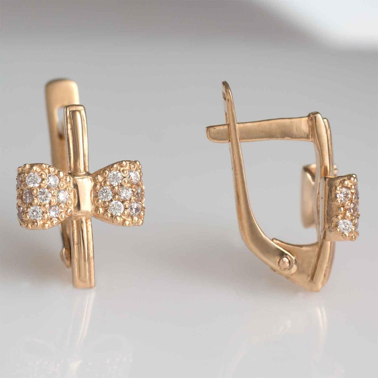 Золотые серьги с фианитами бантик ГП20433