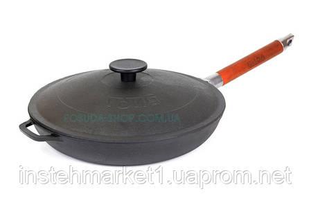 Сковорода чавунна низька Біол зі знімною ручкою і чавунною кришкою 24 см 01242, фото 2