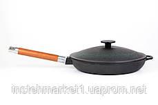 Сковорода чавунна низька Біол зі знімною ручкою і чавунною кришкою 24 см 01242, фото 3