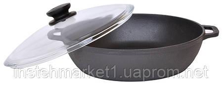 Сковорода чавунна жаровня зі скляною кришкою Біол Ø 28см 03281с, фото 2