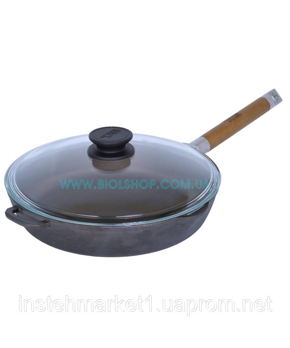 Сковорода чугунная Биол со съемной ручкой и стеклянной крышкой 26 см 1226с