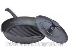 Сковорода гриль чугунная круглая Биол с крышкой прессом 24 см 11241