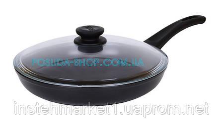 Сковорода Биол Оптима антипригарна зі скляною кришкою 28 см 2804ПС, фото 2