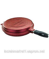 Сковорода-гриль двухсторонняя круглая с антипригарным покрытием Hascevher 32 см ENST010