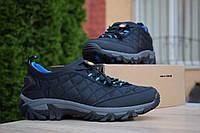Мужские зимние кроссовки в стиле Merrell Ice Cap Moc, нейлон, ткань, черные с синим на стяжке 41 (26 см)