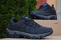 Мужские зимние кроссовки в стиле Merrell Ice Cap Moc, нейлон, ткань, черные с синим на шнурках 44 (28 см)