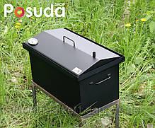 Коптильня Кришка Будиночком (520х300х310) з термометром пофарбована, фото 2