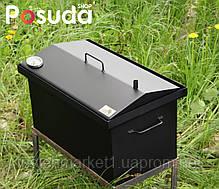 Коптильня Кришка Будиночком (520х300х310) з термометром пофарбована, фото 3