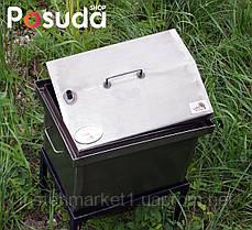 """Коптильня для гарячого копчення кришка """"Будиночком"""" з термометром 1,5 мм (400х300х310), фото 3"""