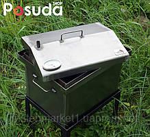 """Коптильня для гарячого копчення кришка """"Будиночком"""" з термометром 1,5 мм (400х300х310), фото 2"""