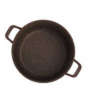Набор посуды Биол Гранит браун Гриль-Вок MIX сковорода 24 см, гриль 26 см, Вок 28 см и кастрюля 4 л с крышками, фото 2