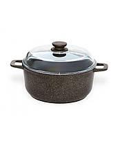 Набор посуды Биол Гранит браун Гриль-Вок MIX сковорода 24 см, гриль 26 см, Вок 28 см и кастрюля 4 л с крышками, фото 3