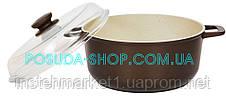 Каструля з антипригарним покриттям Класик Декор і скляною кришкою Біол 4 л К4071ПС, фото 3