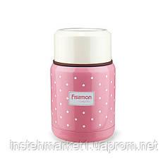 Термос для еды Fissman розовый в горох 350мл
