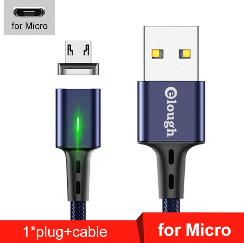 Elough E-Star 3A магнитный Micro-USB кабель. Быстрая зарядка Qualcomm Quick Charge 3.0 Moonlight Blue