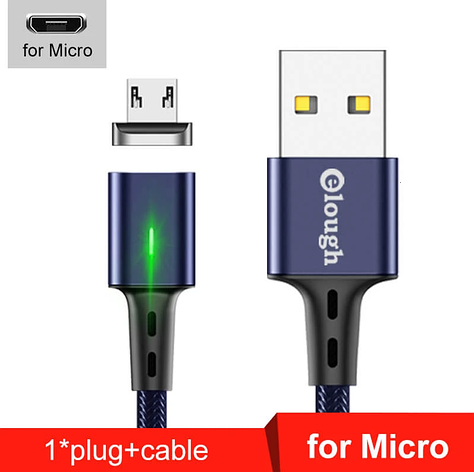 Elough E-Star 3A магнитный Micro-USB кабель. Быстрая зарядка Qualcomm Quick Charge 3.0 Moonlight Blue, фото 2