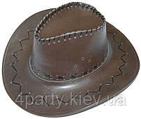 Шляпа ковбойская кожаная (темно-коричневая) 170216-306