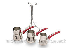 """Набор турок из нержавеющей стали для заваривания кофе """"Yaprak"""" 200/270/330 млл (3CZV082)"""