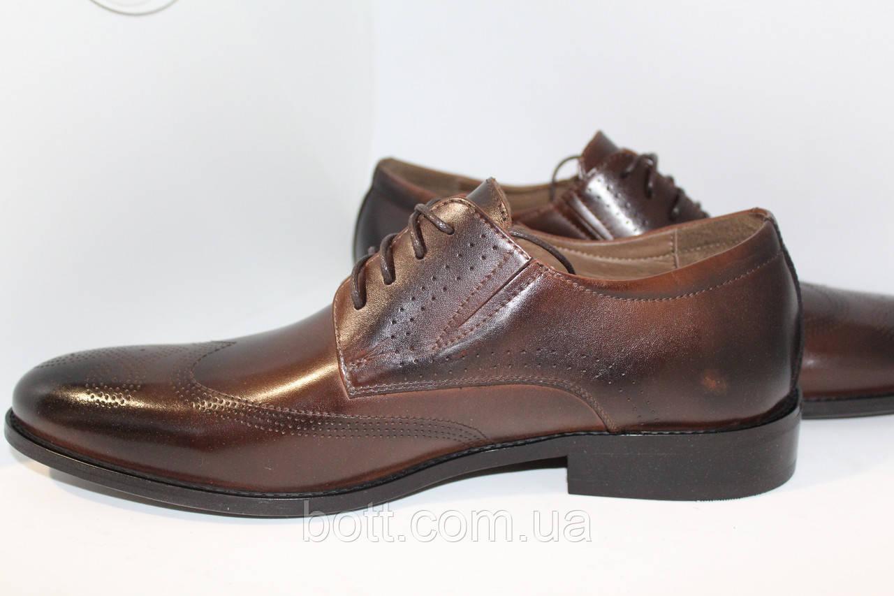 Кожаные коричневые туфли