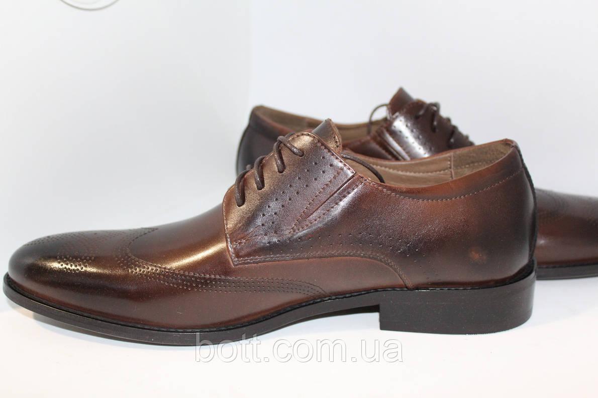 Кожаные коричневые туфли, фото 2