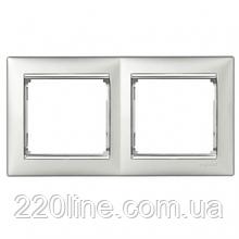 Рамка 2 поста алюминий/серебряный штрих Legrand Valena 770352