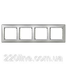 Рамка 4 поста алюминий/серебряный штрих Legrand Valena 770354
