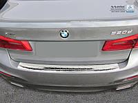 Накладка на задний бампер BMW 5 (G30) 2017-, полированная сталь 35146