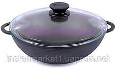 Сковорода чугунная WOK Биол со стеклянной крышкой 3л 0526с