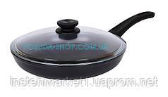 Сковорода с антипригарным покрытием и крышкой Оптима Биол 20 см 2004ПС