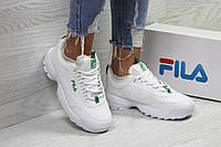 Женские зимние кроссовки в стиле Fila, белые с зеленым 37 (23,5 см)