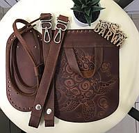 Набор для рюкзака натуральная кожа (крейзи хорс) цвет коричневый