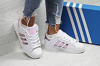 Женские зимние кроссовки в стиле Adidas Superstar, белые с розовым 36 (23 см)