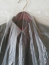 Чехлы для хранения одежды полиэтиленовые толщина 15 микрон ( шелестяшка).Размер  65*130 см,в упаковке 100 штук, фото 3