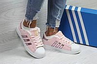 Женские зимние кроссовки в стиле Adidas Superstar, розовые 36 (23 см)