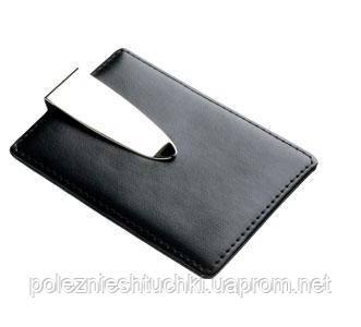 """Зажим для денег с чехлом для карт """"Карманчик"""" Elite, черный, кожено-металлический"""