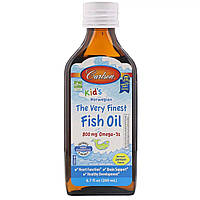 Рыбий Жир для Детей, Kid's Fish Oil Lemon, Carlson Labs, Лимонный Вкус 200 мл.