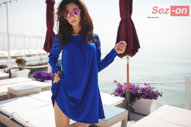 Сукня жіноча Трапеція з бантом ― Синій