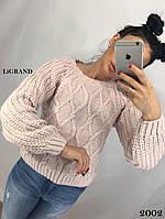 Женский теплый вязаный свитер с рукавом регланом и узорной вязкой 82KF598, фото 1