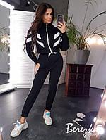 Теплый женский спортивный костюм с бомбером на молнии и штанами на манжетах 66SP738Q, фото 1