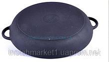 Чугунная сковорода гриль 26 см круглая с прессом Ситон, фото 2