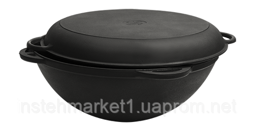 Сковорода чавунна Вок (WOK) Сітон з кришкою сковородою 5,5 л. (d=300, V=5,5 л)