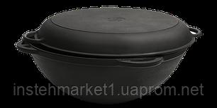 Сковорода чавунна Вок (WOK) Сітон з кришкою сковородою 5,5 л. (d=300, V=5,5 л), фото 2