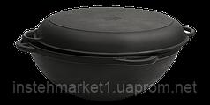 Сковорода чугунная Вок (WOK) Ситон с крышкой сковородой 8 л. (d=340, V=8 л)