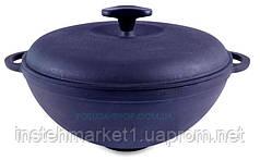 Сковорода чугунная WOK с крышкой Ситон. Объем 3,5 литров.