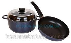 Набор посуды Индиго сковорода 24 см и кастрюля 4 л Биол И24ПС
