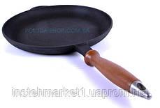Сковорода чавунна млинниця Сітон з дерев'яною ручкою 20 см, фото 3
