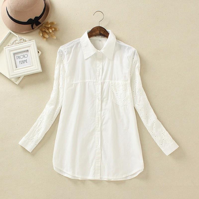 c6d4ff928cf Белая рубашка с кружевными вставками  продажа