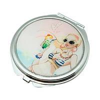 """Зеркало карманное круглое 6,5 см. """"Jardin d'ete - Девушка с коктейлем"""" серебристое, металлическое с наклейкой"""